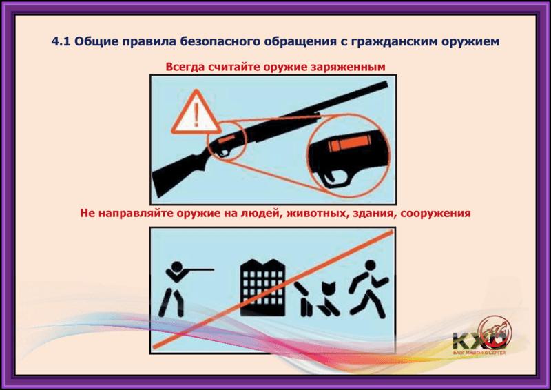 Общие правила безопасного обращения с гражданским оружием