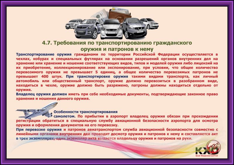 Требования по транспортированию гражданского оружия и патронов к нему