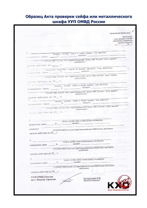 Образец Акта проверки сейфа или металлического шкафа УУП ОМВД России